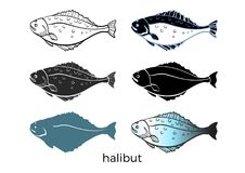 Set of sea fish on white background. Halibut. Vector shape. Seafood, sketch, silhouette. Illustration isolated and grouped for easy editing  eps.10 Royalty Free Stock Photos