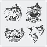 Set of sea fishing labels, badges and design elements. Marlin illustrations. Vintage style. Black and white illustration Royalty Free Stock Photography