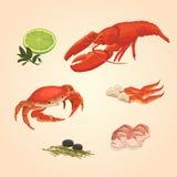 Set sea food crab and crawfish. Watercolor seafood set. crawfish and crabs with lime and paper Royalty Free Stock Photo