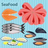 Set sea food ingredients Stock Photography