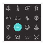 Set of Sea Food Vector Illustration Elements can be used as Logo Royalty Free Stock Images