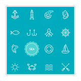 Set of Sea Food Vector Illustration Elements can be used as Logo Royalty Free Stock Photography