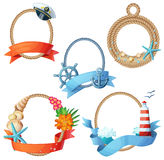 Set of sea frames. Ropes with anchors, seashells, seastars, ship wheels. Cartoon vector illustration isolated on white background Stock Photography