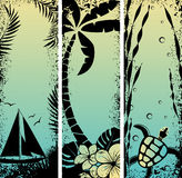 Set sea grunge banners. Vector illustration Stock Photos