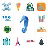 Set of sea horse, locomotive, made in america, eiffel tower, educational institute, handyman, rhino, hotel, 100 year anniversary i. Set Of 13 simple  icons such Stock Images