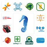 Set of sea horse, 20 year, camper, safety first, sparta, 100 year anniversary, , lux, made in america icons. Set Of 13 simple  icons such as sea horse, 20 year Royalty Free Stock Photos