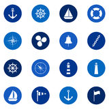 Set of sea icons on color background, illustration Stock Photography