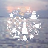 Set sea icons on seascape background. Vector Stock Image