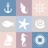Set of sea icons. Shell, starfish, fish, anchor, steering wheel, life preserver, ship, sea horse. Nautical theme. The texture may be used for printing on fabric Royalty Free Stock Images