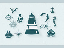 Set of sea labels Stock Image