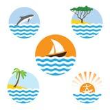 Set of sea logos Royalty Free Stock Photography
