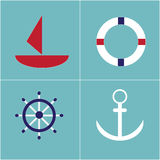 Set of sea and nautical icons Stock Photography