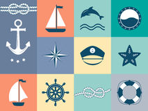 Set of sea and nautical labels, badges. Stock Photos
