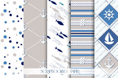 Set of sea and nautical patterns in blue colors. Set of sea and nautical seamless patterns in white, beige and dark blue colors. Vector illustration Stock Photography
