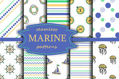Set of sea and nautical seamless backgrounds. Vector seamless patterns. Set of sea and nautical seamless backgrounds. Sea theme. Vector illustration Royalty Free Stock Photos
