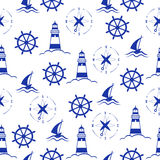 Set of sea and nautical seamless patterns Stock Photography