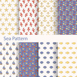 Set of sea and nautical seamless patterns for printing onto fabric and paper. Vector Royalty Free Stock Photos