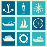 A set of sea objects Royalty Free Stock Photos