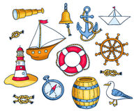 Set of sea objects. Vector cartoon illustration for children. Isolated on white Stock Images
