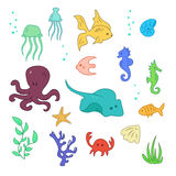 Set of sea and ocean animals Royalty Free Stock Photo