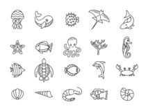 Set of sea or ocean animals icons stock illustration