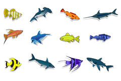 Set of sea and ocean fishes. Cartoon vector illustration Stock Photo