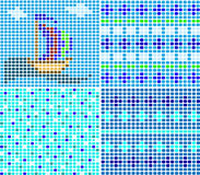 Set of sea ornaments from a mosaic. The yacht, a wave Royalty Free Stock Images