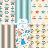 Set of sea patterns Royalty Free Stock Image