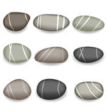 Set sea pebbles with shadows on white background Stock Images