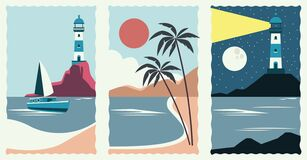 Set of sea scape flat scenes
