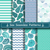 Set of sea seamless patterns. Set of blue, green and white sea seamless patterns. Scrapbook design elements. All patterns are included in swatch menu Stock Photography