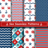 Set of sea seamless patterns. Set of blue, red and white sea seamless patterns. Scrapbook design elements. All patterns are included in swatch menu Royalty Free Stock Photography