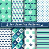 Set of sea seamless patterns. Set of blue, turquoise and white sea seamless patterns. Scrapbook design elements. All patterns are included in swatch menu Royalty Free Stock Photography