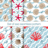 Set of sea seamless patterns with curves. Set of sea seamless patterns with seashells, starfish and coral. 6 different blue background with waves. Vector Stock Images
