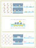 Set of 6 sea seamless patterns. The sea is calling. Sea seamless patterns. Backdrop for your design Stock Image