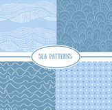 Set of sea seamless patterns (tiling). Vector illustration for abstract aqua design. Endless texture can be used for fills, web page background, surface. Set Royalty Free Stock Photography