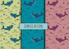 Set of sea seamless patterns.Whale, fish, starfish. Set of sea seamless patterns. Whale, fish, starfish. Sea marine pattern.Underwater world Stock Photography