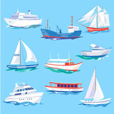 Set of Sea Ships Water Carriage and Maritime Transport Stock Photography