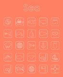 Set of sea simple icons Royalty Free Stock Photos