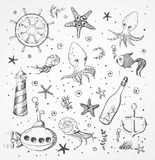 Set of sea sketch objects stock illustration