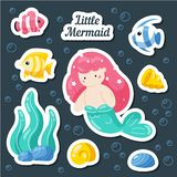 Set sea stickers. Mermaid, fish, shells, coral reef. Cartoon patches, badges, pins, prints for kids. Doodle style stock illustration