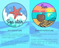 Set of Sea and Summer Adventure Posters vector illustration