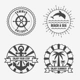 Set of sea and summer nautical signs, badges and labels. Vector Royalty Free Stock Photos