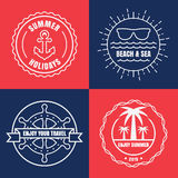 Set of sea and summer nautical signs, badges and labels. Vector Stock Photo