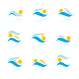 Set of sea sun icons Stock Photo