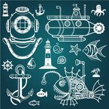 Set of sea symbols. Royalty Free Stock Photos