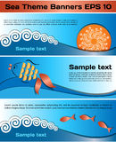Set of sea theme banners Royalty Free Stock Photos