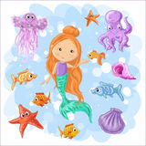 Set on a sea theme. Set on a marine theme. Vector isolated objects mermaid and octopus, fish and jellyfish, shell Royalty Free Stock Photos