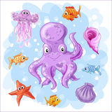 Set on a sea theme. Set on a marine theme. Vector isolated objects octopus, fish and jellyfish, shell Royalty Free Stock Photography