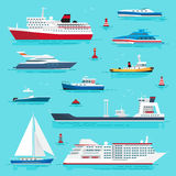 Set of Sea Transport on Blue Water Flat Design Royalty Free Stock Images